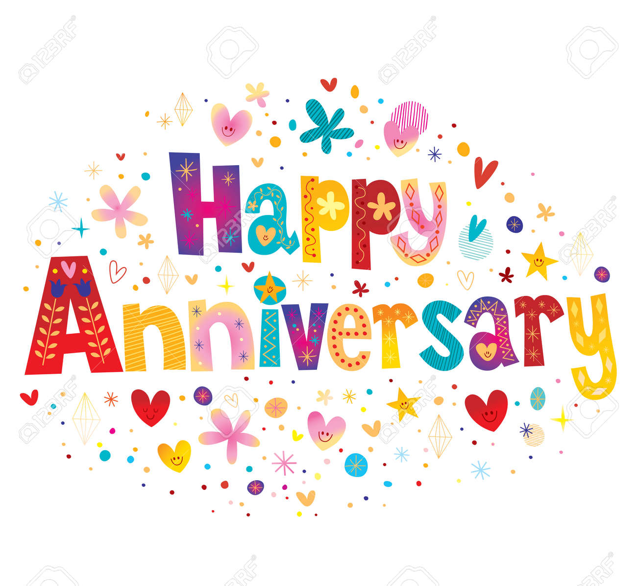 Happy Anniversary greeting card with decorative lettering text design - 134002650