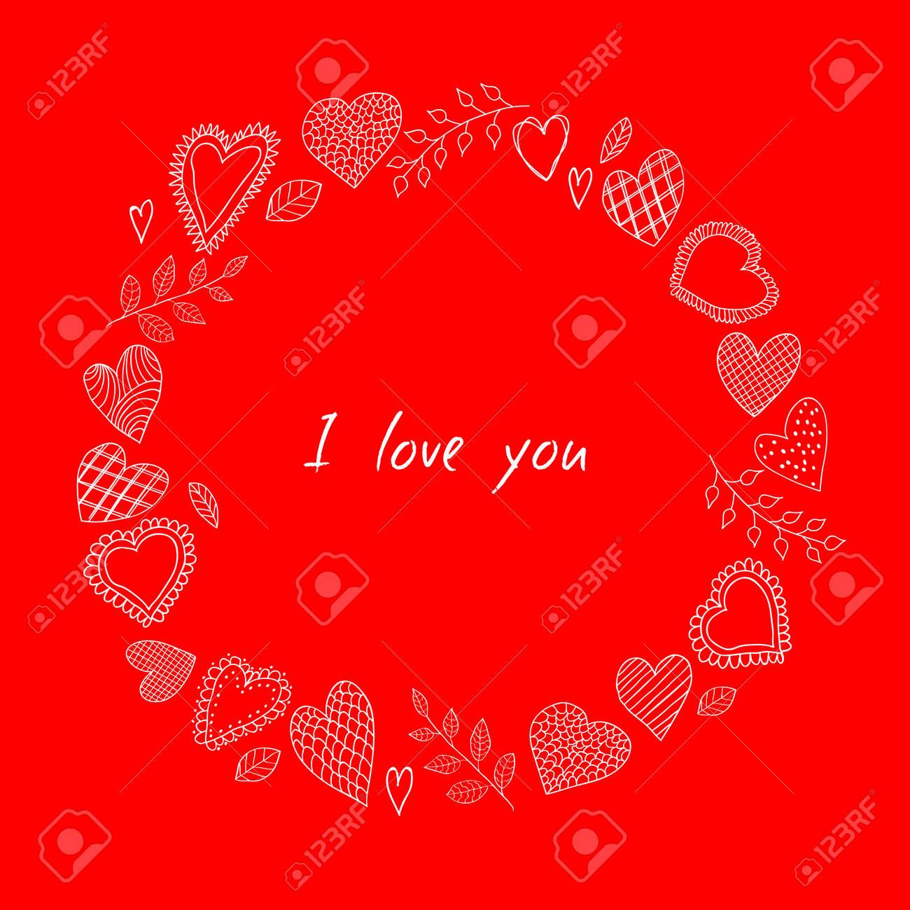 Marco De Los Corazones Del Doodle. Happy Valentines Día De Tarjetas ...