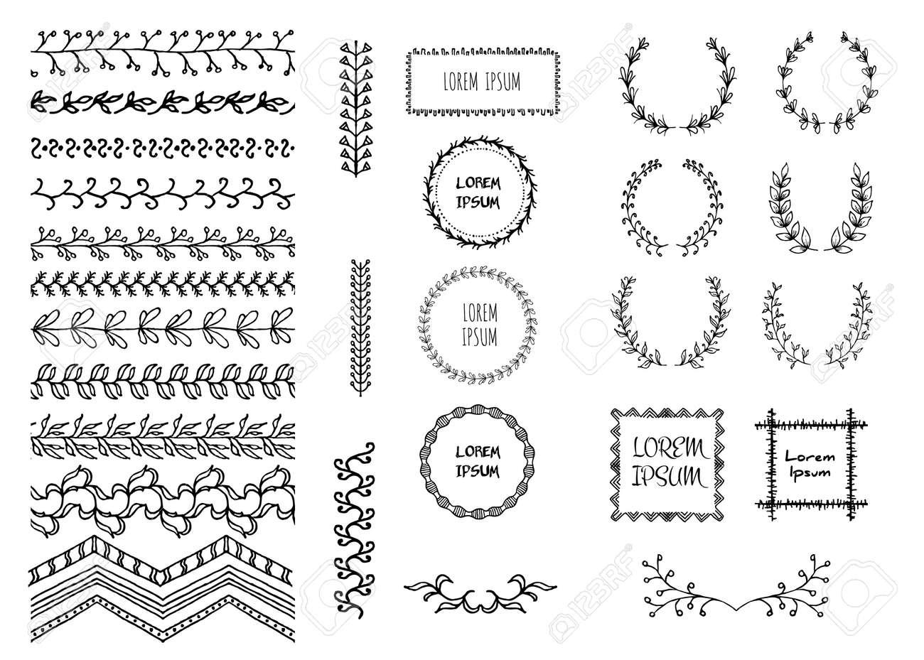 Conjunto De Fronteras De Doodle Sin Costura A Mano. Ilustración De ...