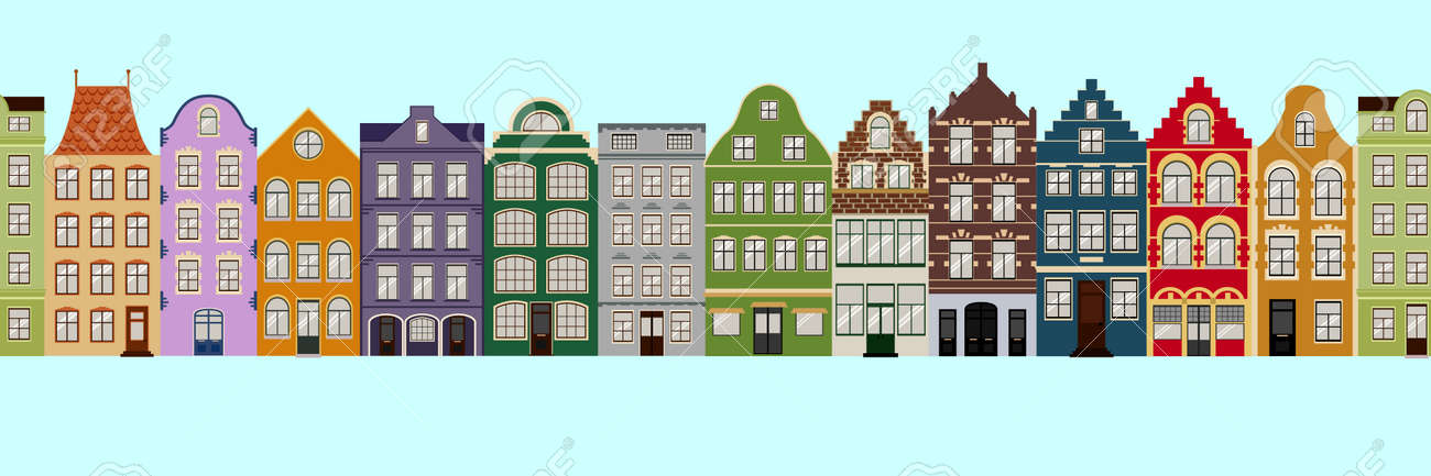Seamless Border of Cute retro houses exterior. Collection of European building facades. Traditional architecture of Belgium and Netherlands - 103735670