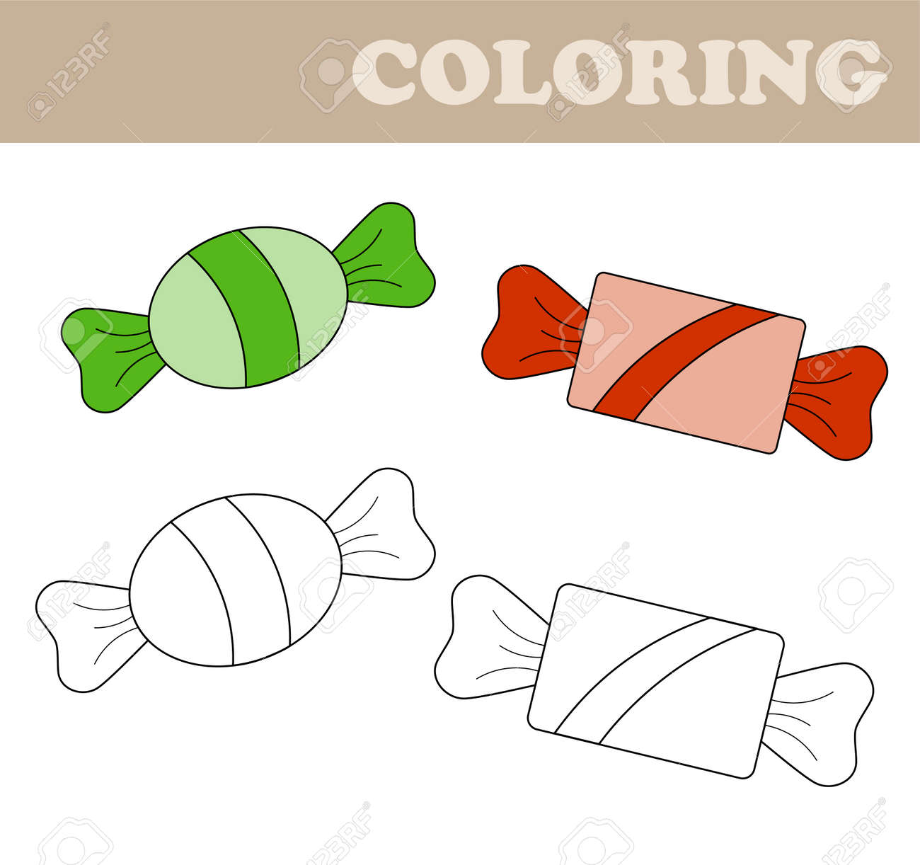 Coloring Page With Sweets Book For Children Educational Childrens Game Drawing Kids