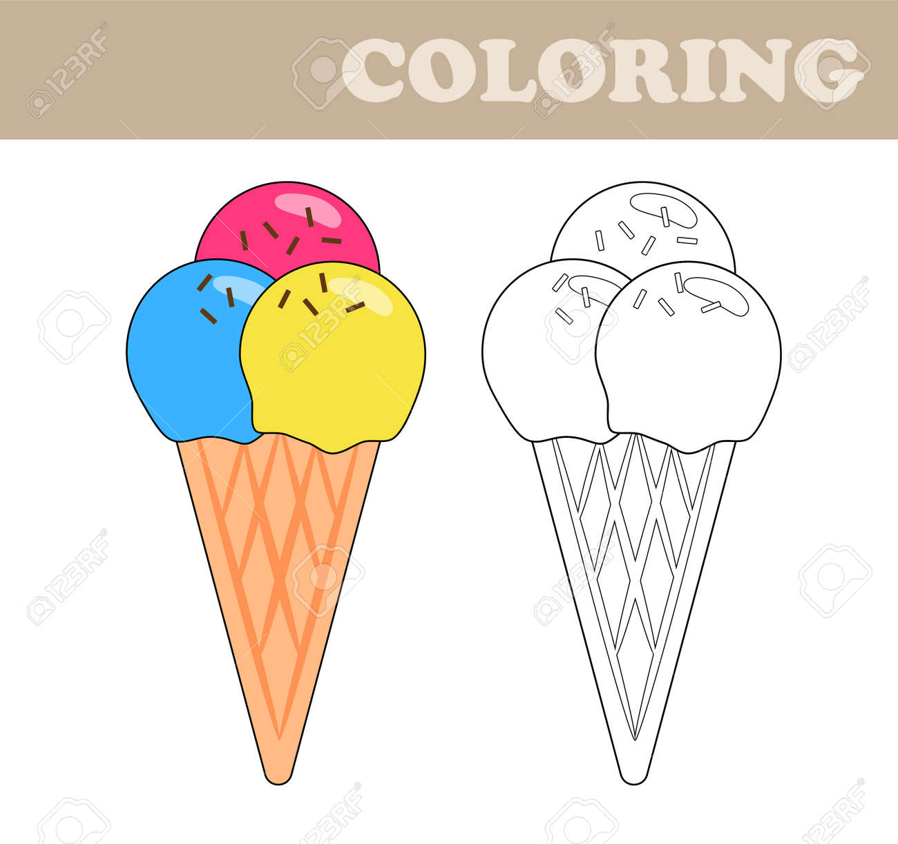 Coloring Page With Ice Cream. Coloring Book For Children ...