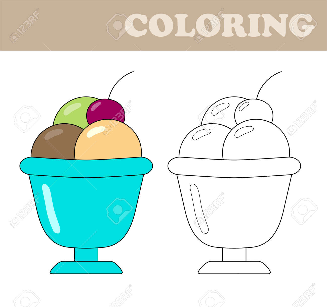 Coloring Page With Ice Cream Coloring Book For Children