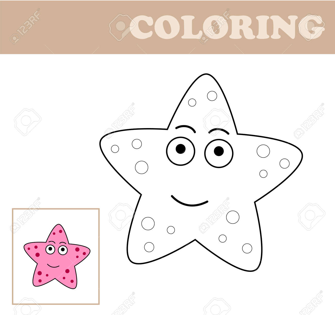 Coloring Page With Sea Star. Coloring Book For Children. Educational ...