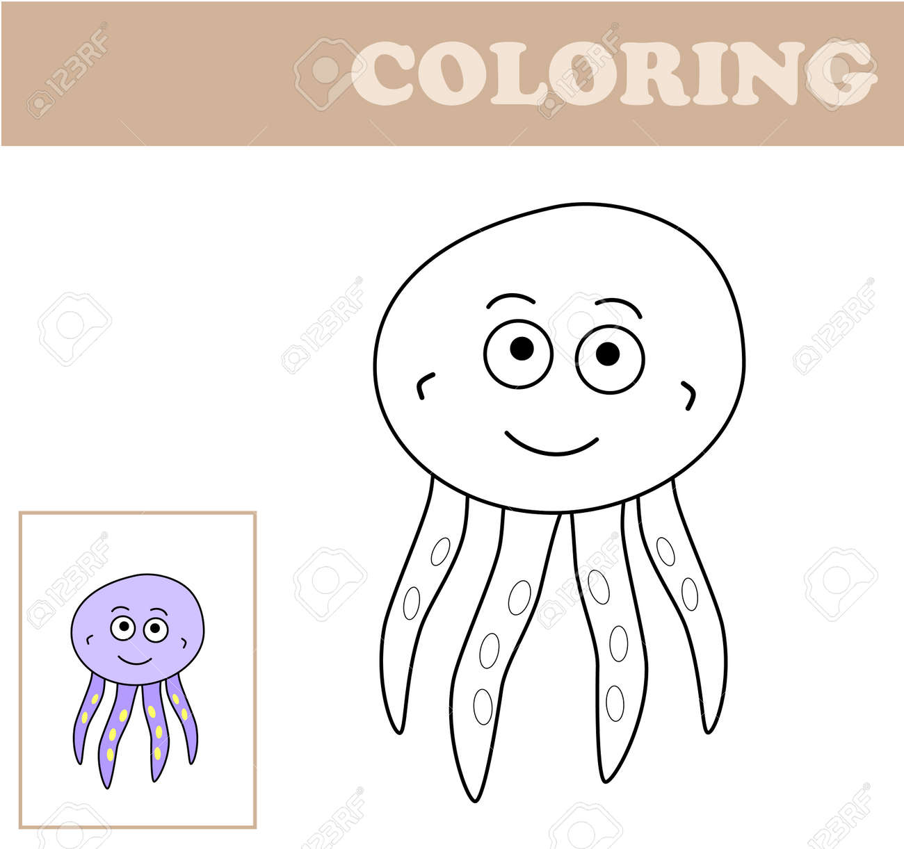 image about Printable Octopus titled Coloring webpage with octopus. Coloring guide for youngsters. Informative..