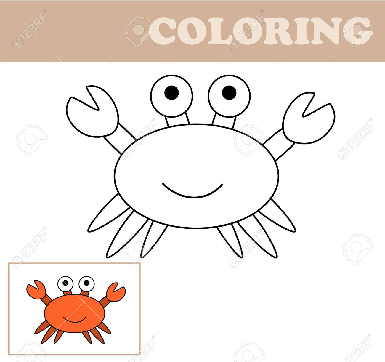 Coloring Page With Crab Book For Children Educational Childrens Game Drawing Kids