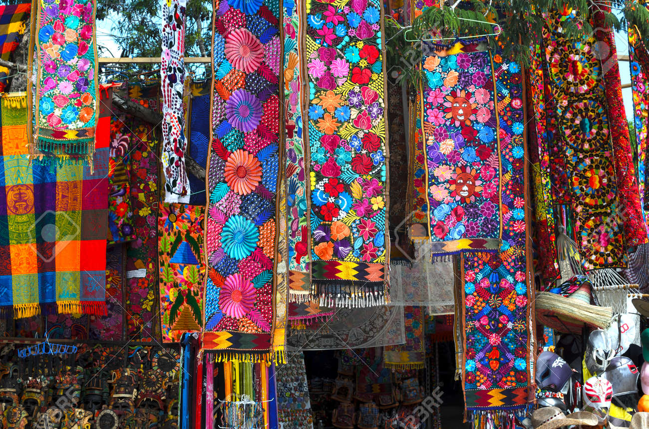 Beautiful Suvenier Store With Traditional Mexican Handmade Craft Stock Photo Textiles