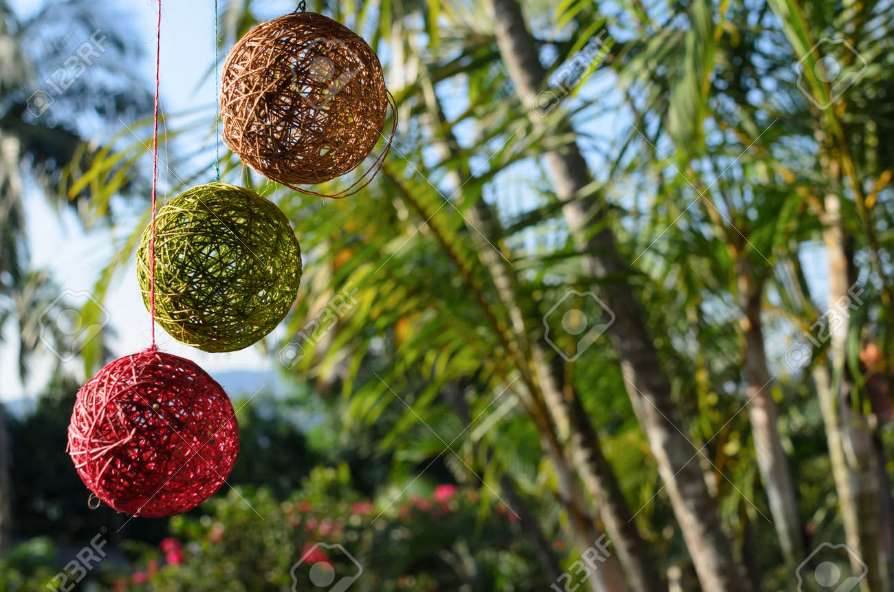 Tree Colorful Balls Made Of Natural Thread Hanging In Front Of ...
