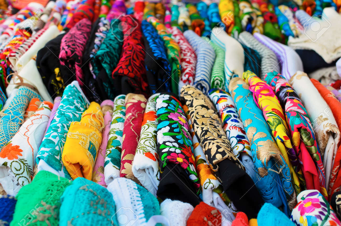 Folded Colorful Authentic Mexican Women S Shirts For Sale At Stock