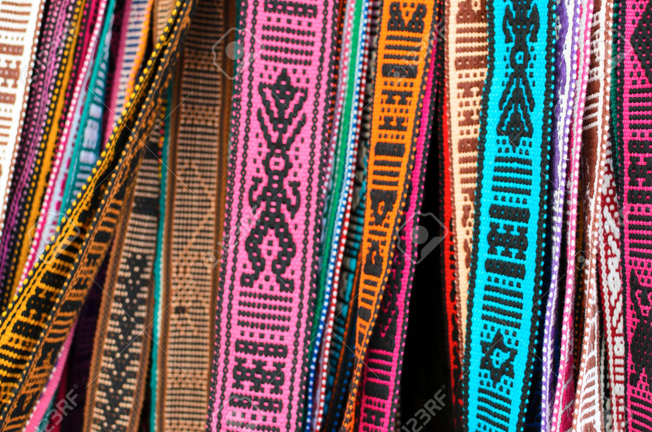 Hand Made Belts With Traditional Mexican Ornaments Stock Photo