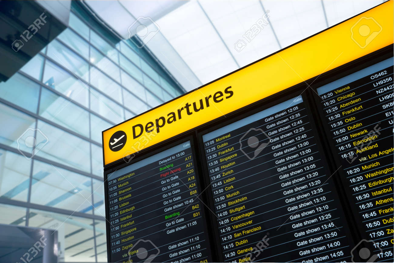 Flight information, arrival, departure at the airport, London, England - 43800103