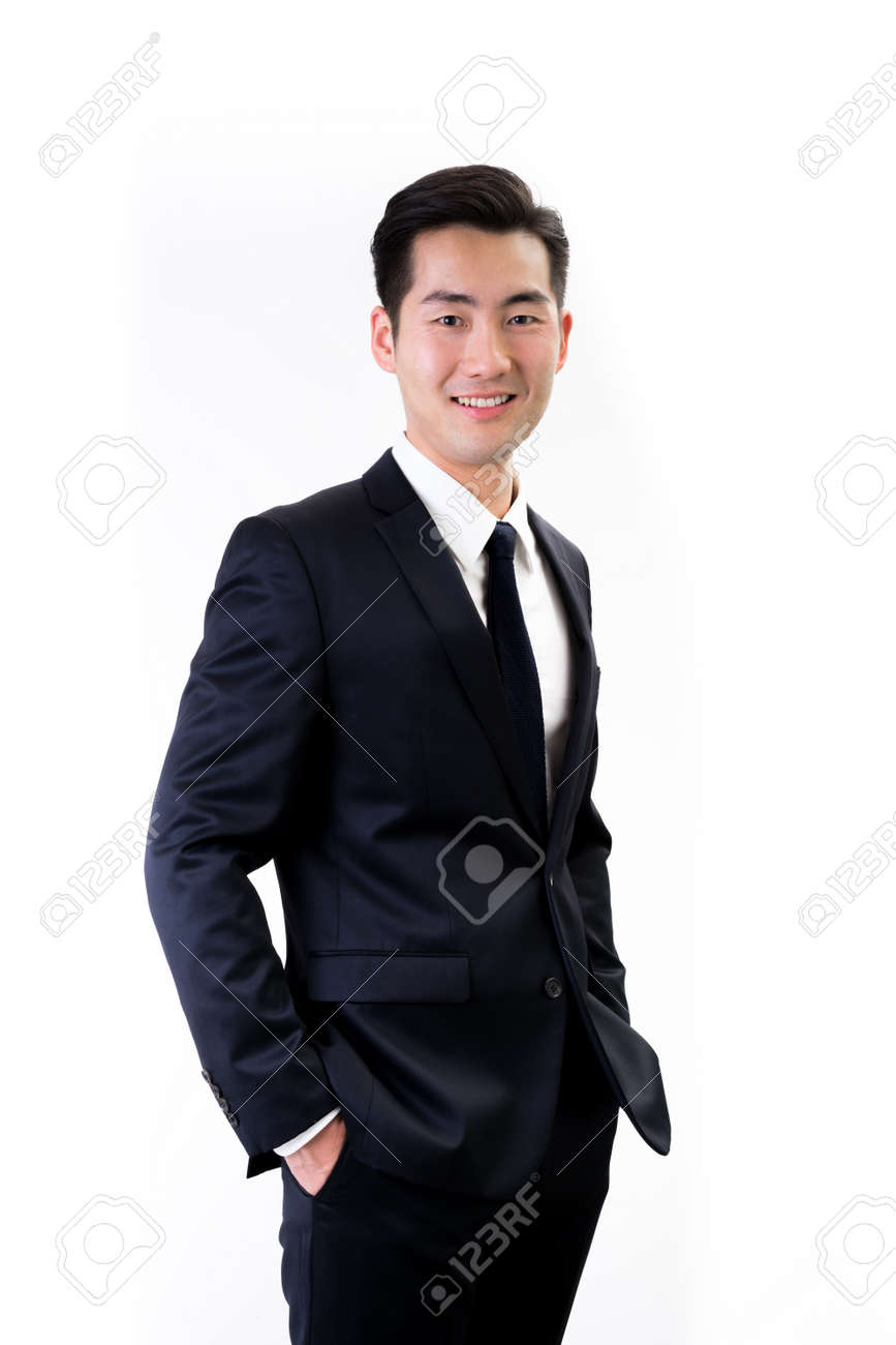 Young Asian businessman white background - 45870709