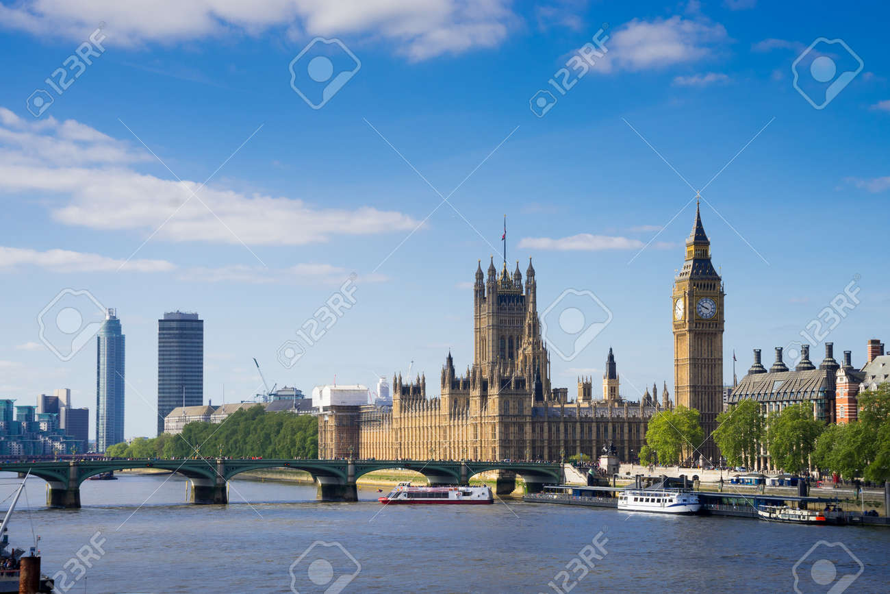 Big Ben and Westminster abbey in London, England - 55321570