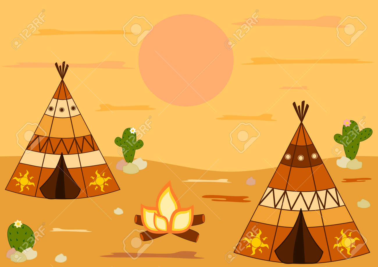 native american indian teepee tent cartoon vector background illustration Stock Vector - 45233737 & Native American Indian Teepee Tent Cartoon Vector Background ...