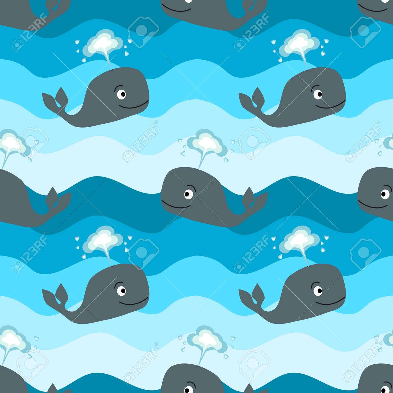漫画鯨海シームレスなベクトル パターンのイラスト背景 ロイヤリティ