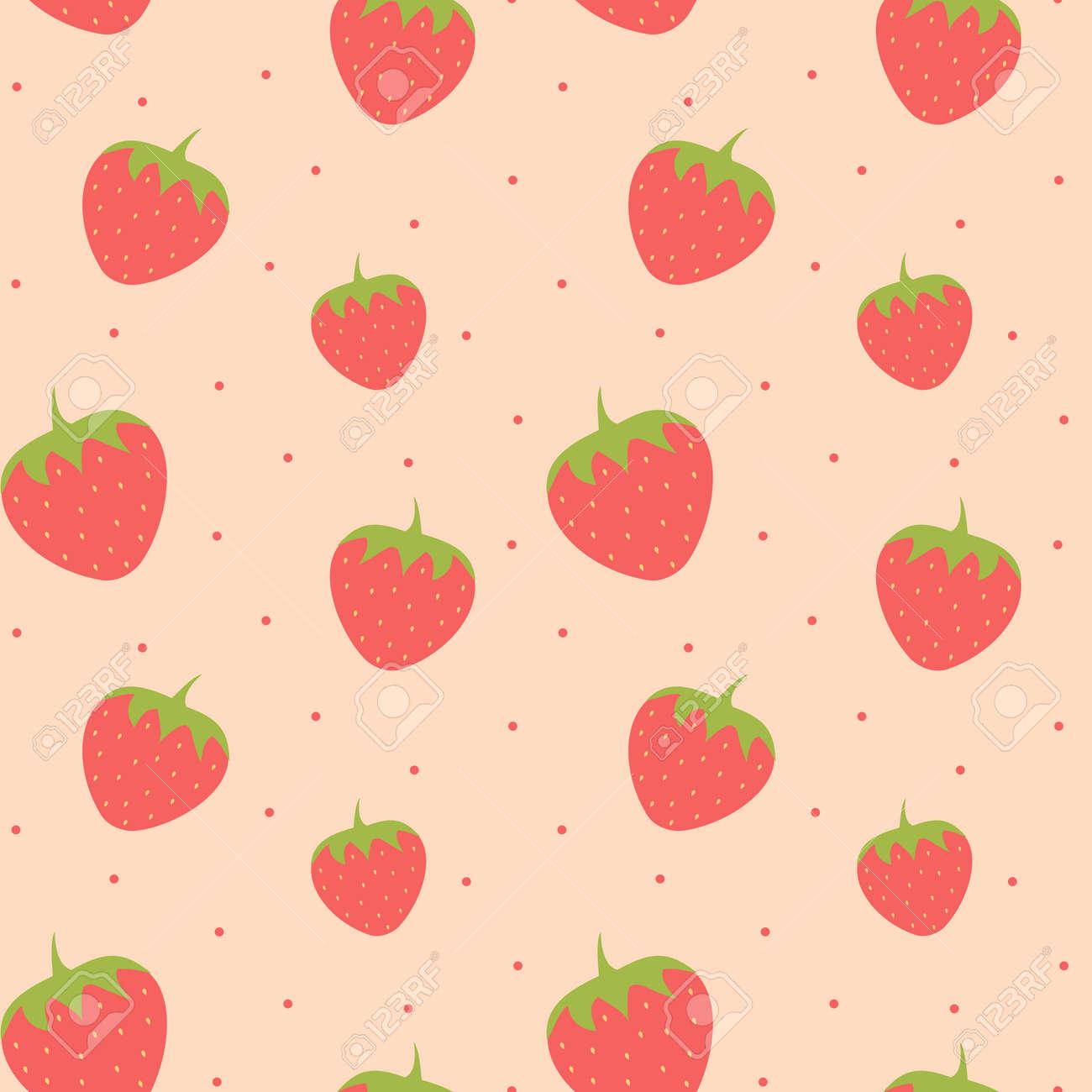 かわいい素敵なイチゴのシームレスなパターン背景イラストのイラスト素材 ベクタ Image