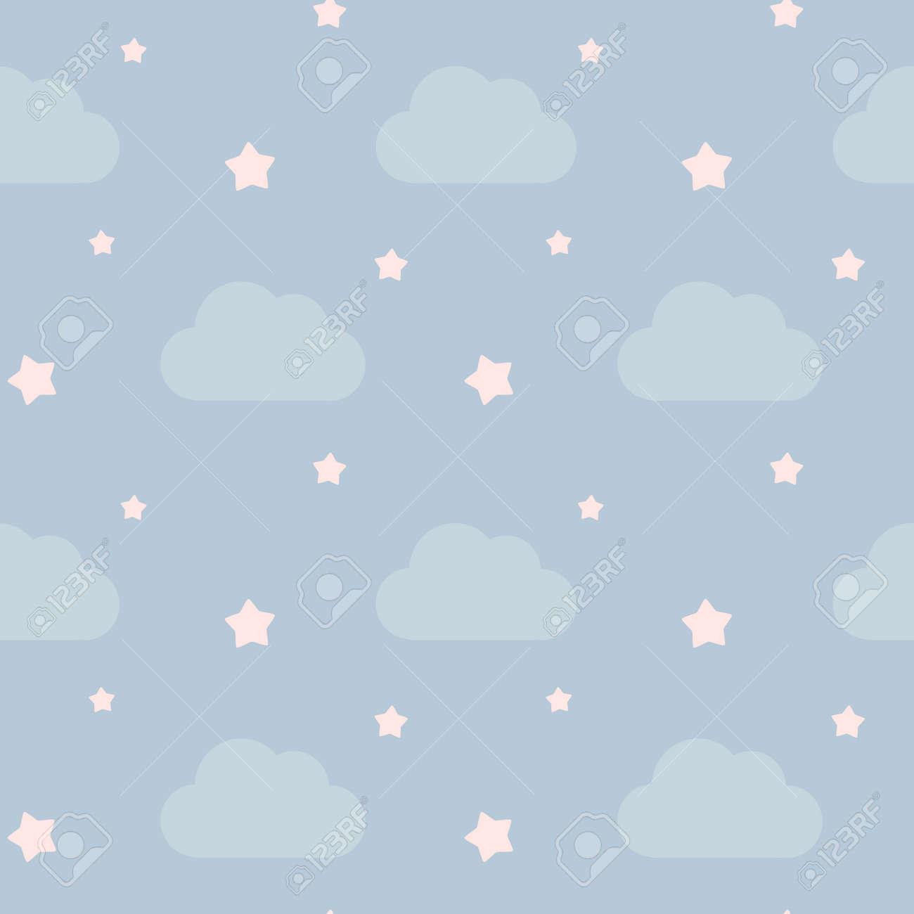 雲と星のシームレスなパターン ベクトル背景イラストと素敵なかわいい