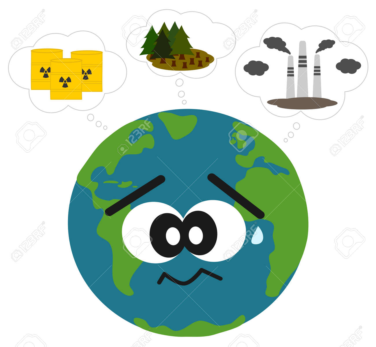Air pollution cartoon stock photos pictures royalty free air earth worried about pollution and deforestation vector concept illustration sciox Gallery