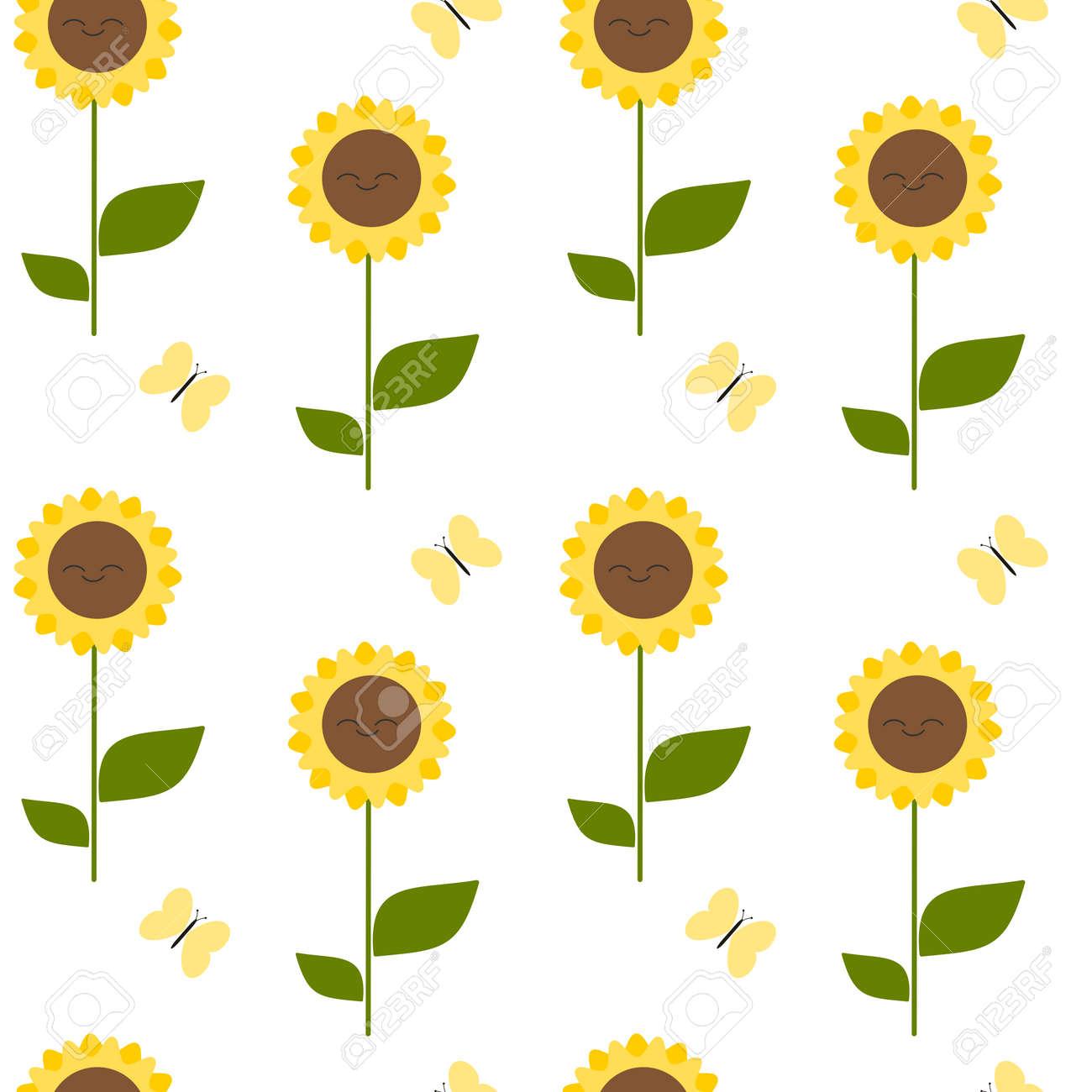 Cute Cartoon Sunflower Seamless Pattern Vector Background Stock