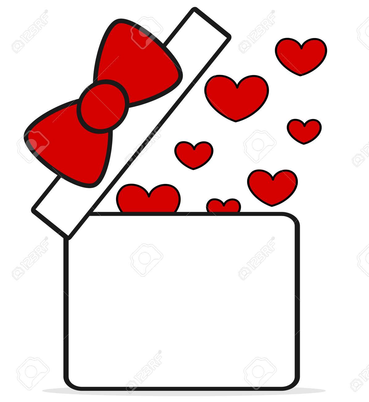 Boite De Cadeau Blanc Rouge Dessin Anime Mignon Ouvert Avec