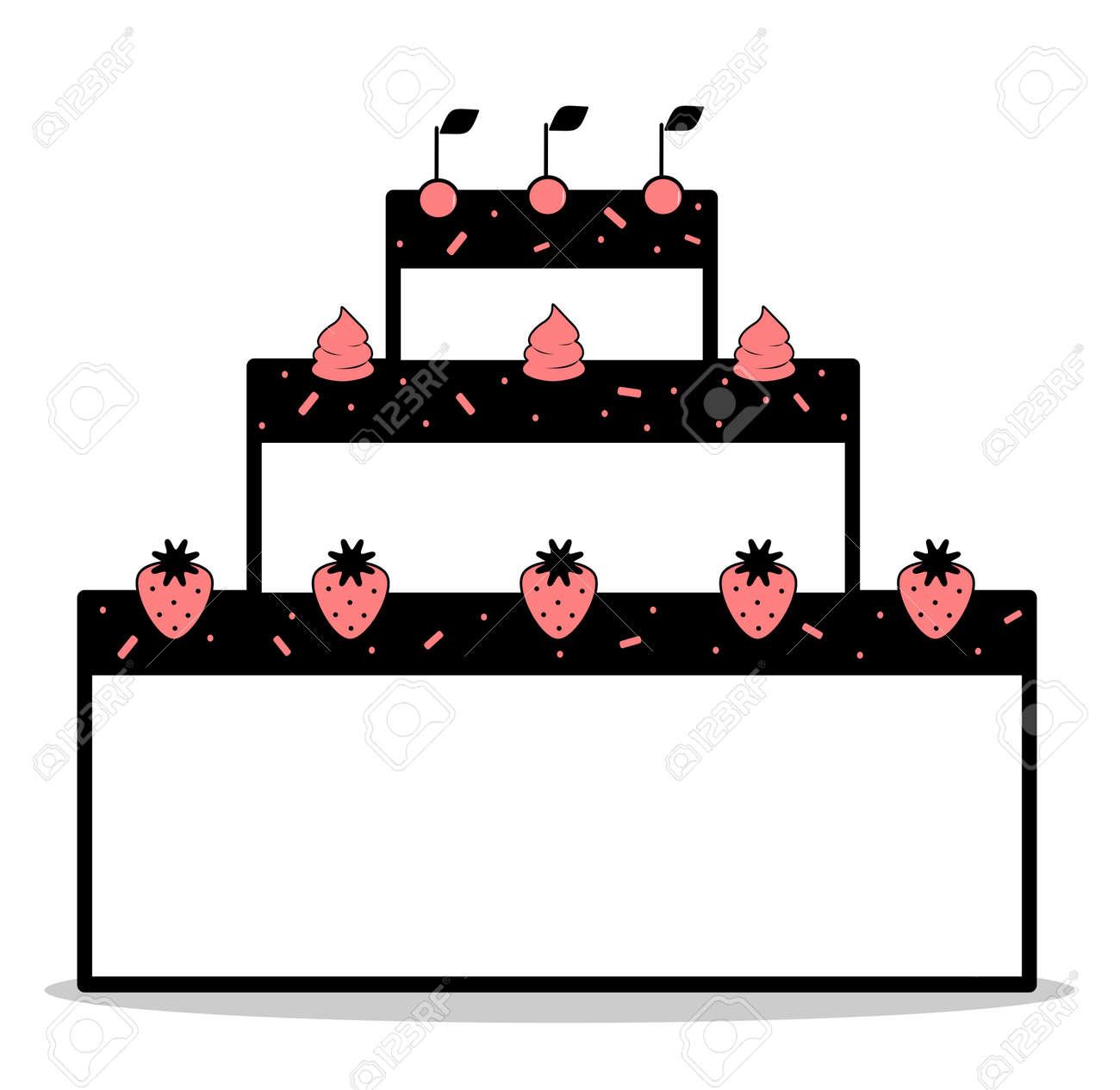 Abstrakte Cartoon Schwarz Weiss Rosa Kuchen Mit Erdbeeren Und