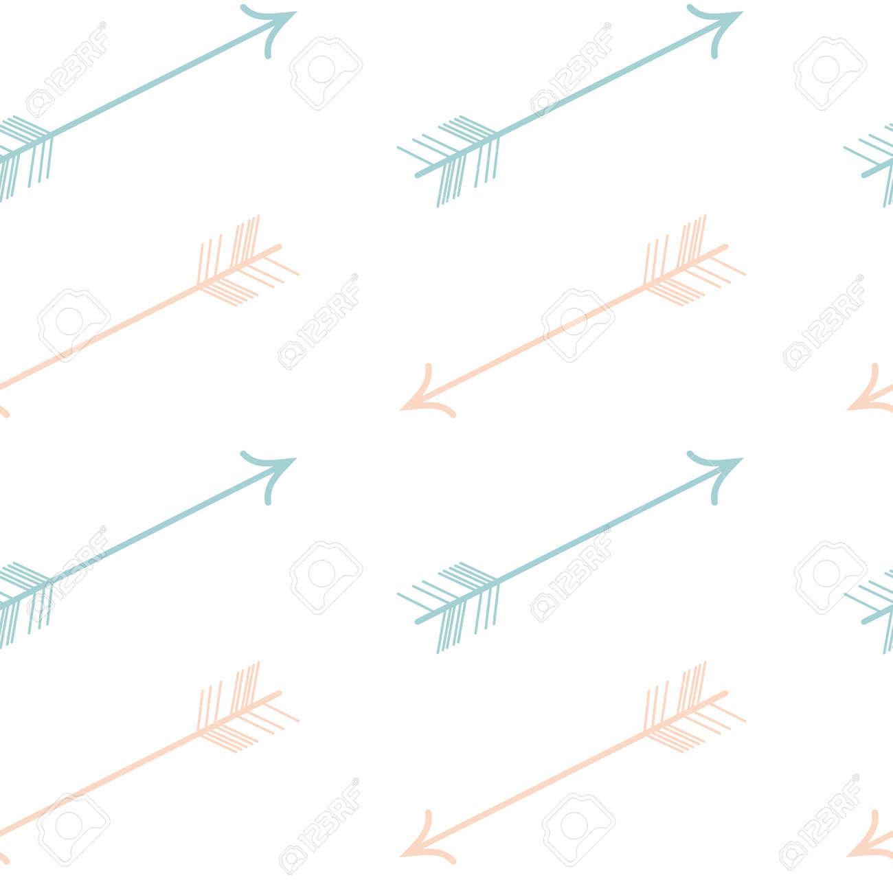 かわいいパステル カラーのピンク青ベクトル シームレスな矢印パターン