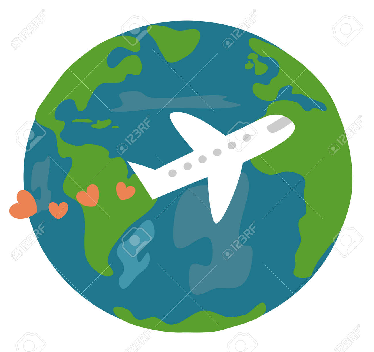 Cute Cartoon Earth And Plane With Hearts Love Travel The World Vector Concept Illustration Stock