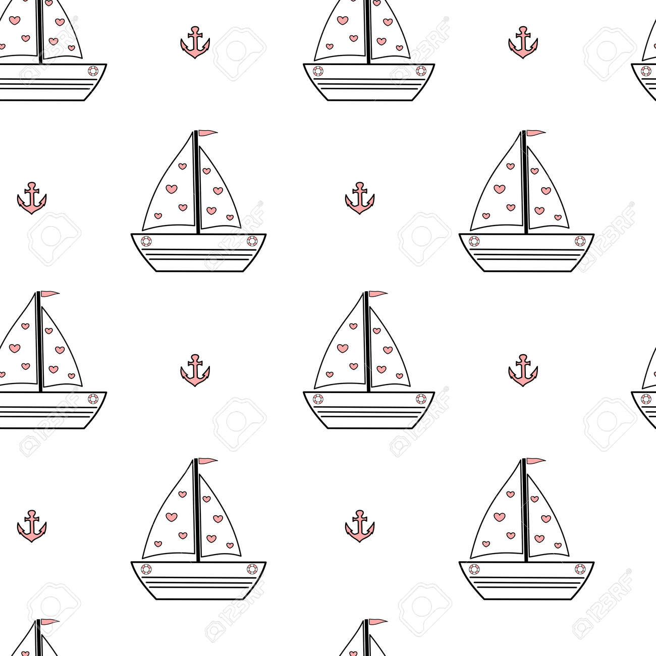 Cute Lovely Black White Pink Cartoon Ship Boat Seamless Pattern Vector Background Illustration Stock