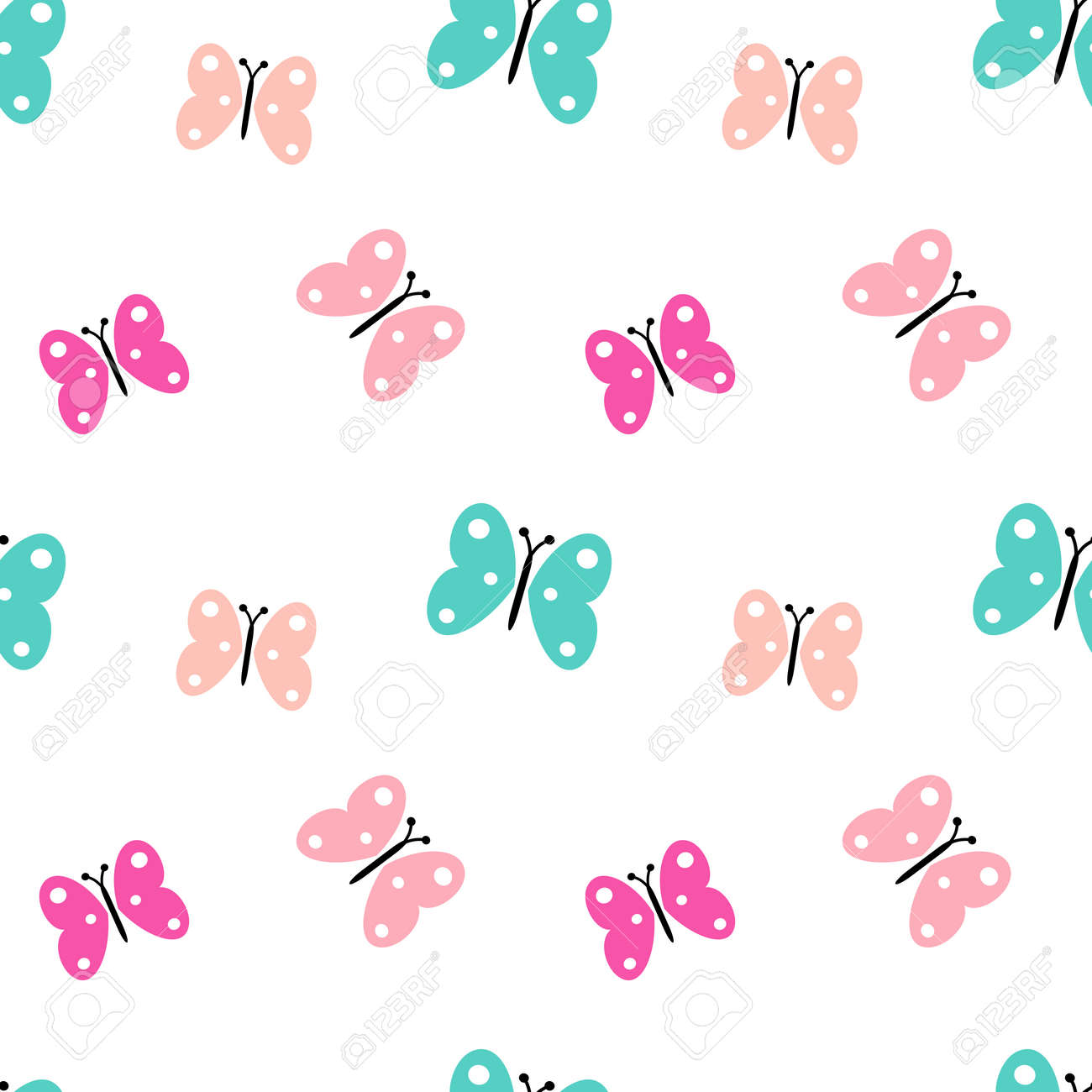 Vector Background Pattern Colorful Cute Butterflies Seamless