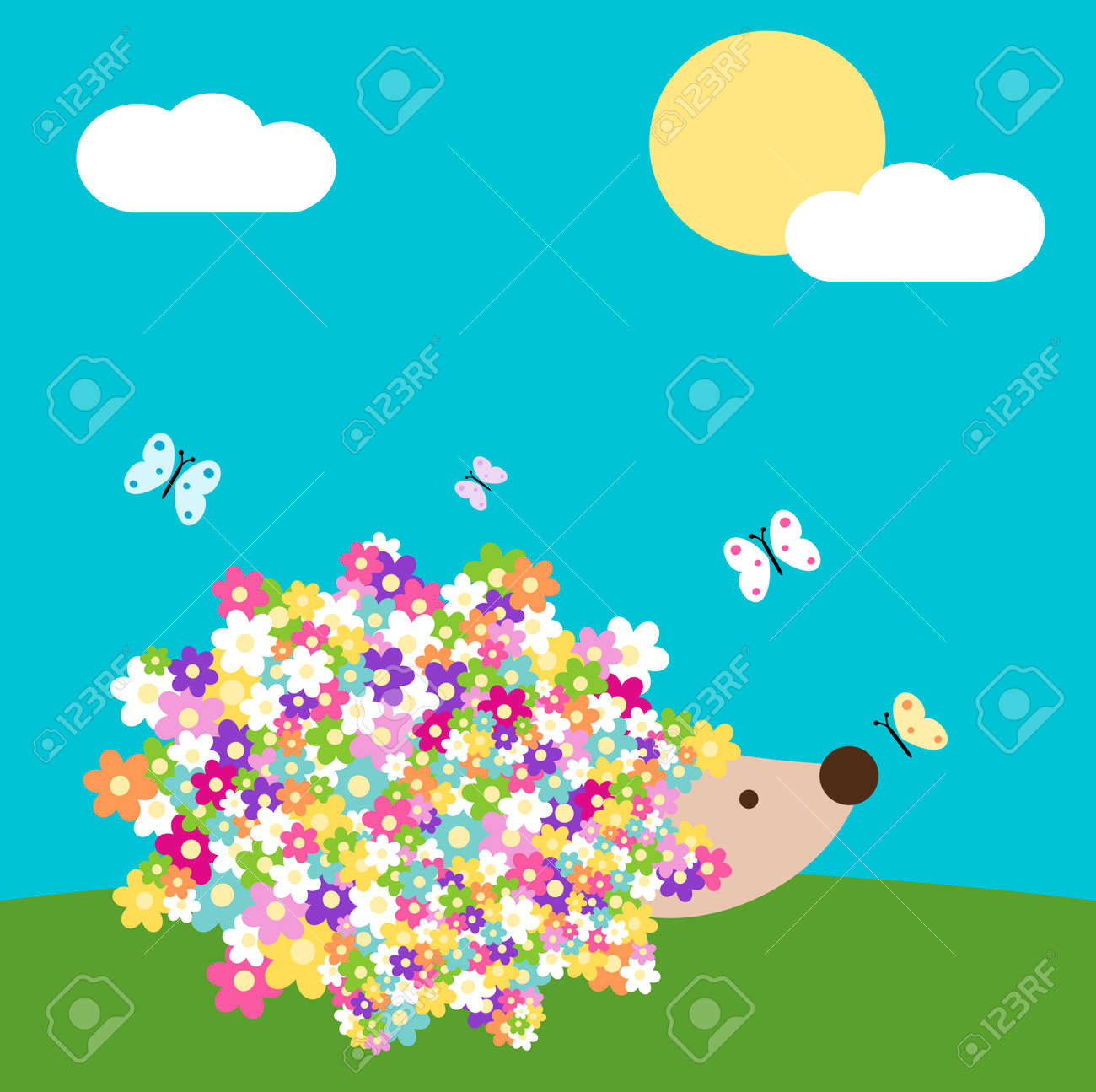 Erizo Lindo De Dibujos Animados Con Flores De Primavera Margarita En
