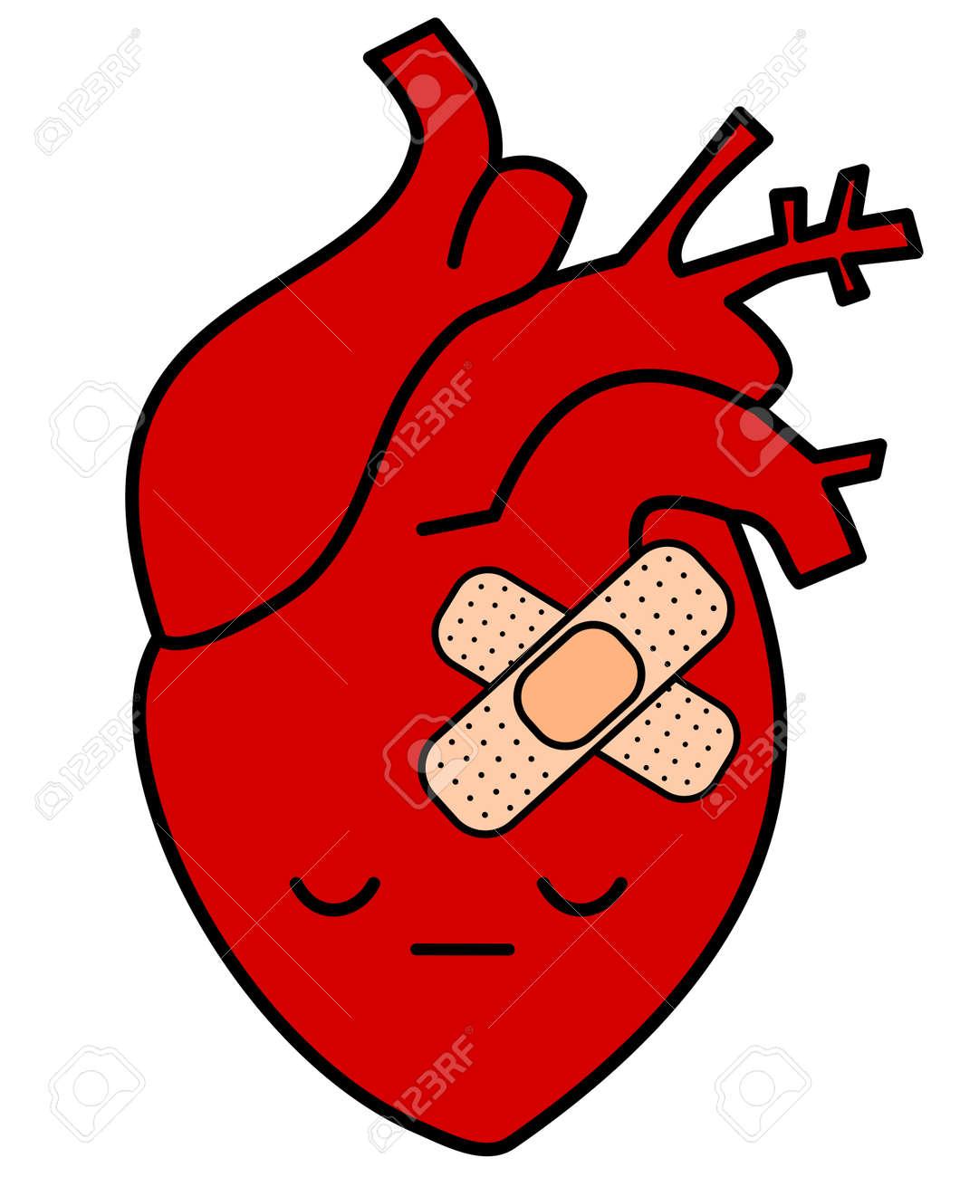 Cute cartoon sad human heart with plaster concept vector cute cartoon sad human heart with plaster concept vector illustration stock vector 61515288 voltagebd Choice Image