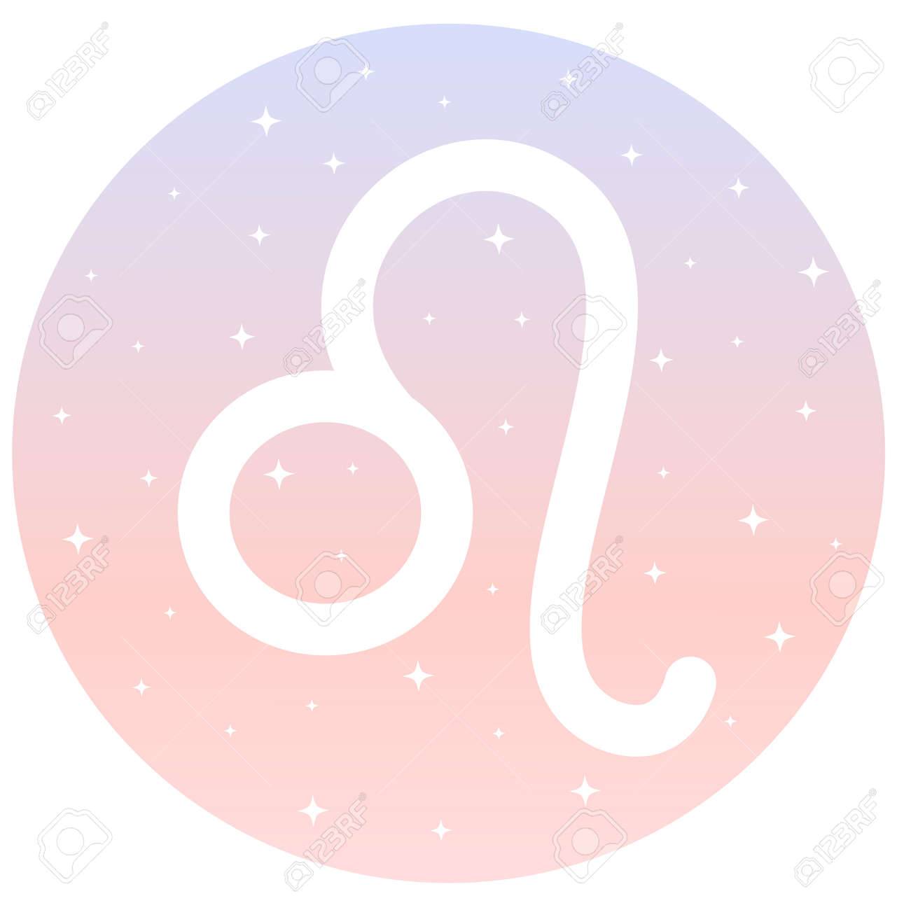 leo zodiac signs circle icon on pink and blue gradient background