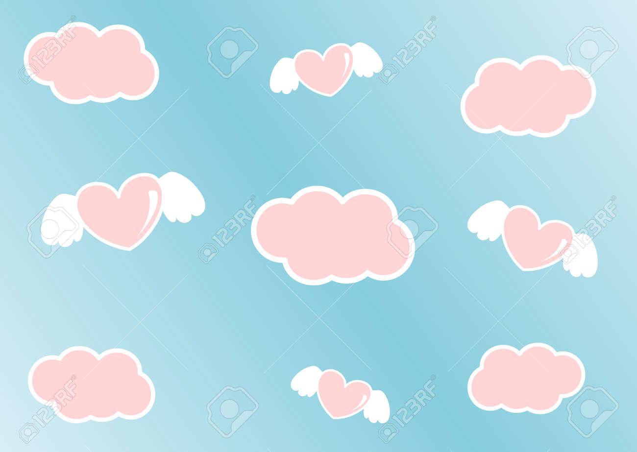 雲とエンジェル ハート漫画かわいいピンクの空 の写真素材 画像素材