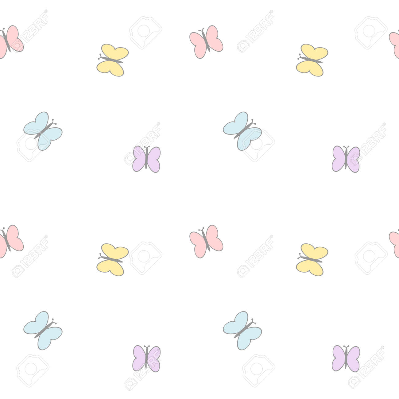 カラフルなかわいい漫画蝶ベクトル パターン背景シームレスなイラスト