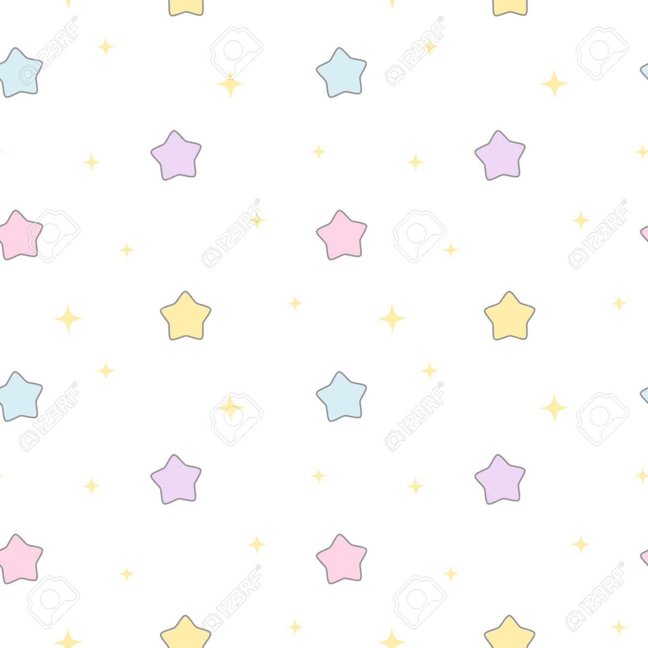 カラフルなかわいい漫画パターンのシームレスな星ベクトル背景イラスト