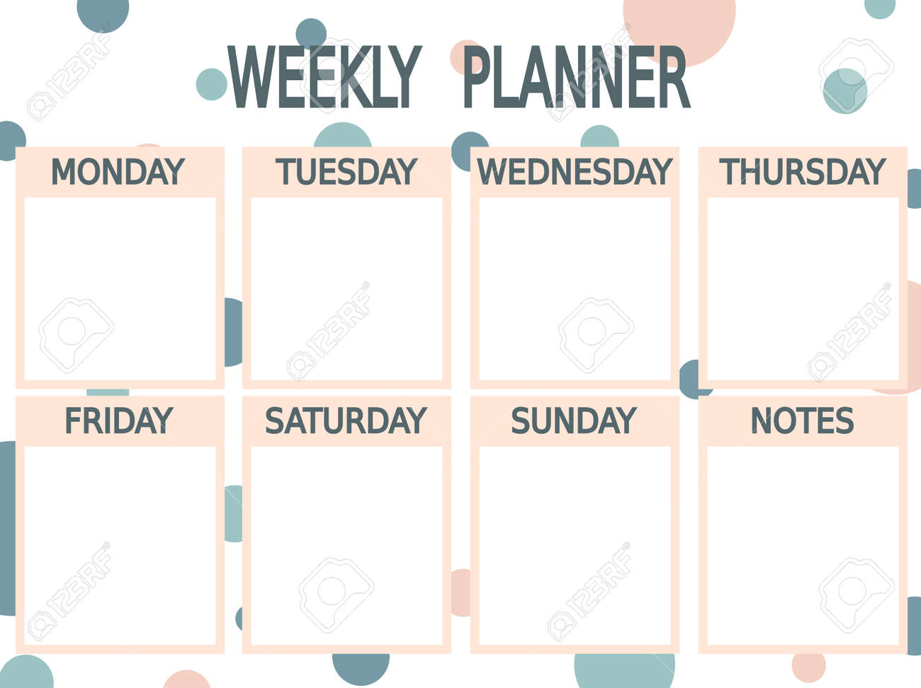 image relating to Cute Weekly Planners named lovable blue vector red printable weekly planner with circles