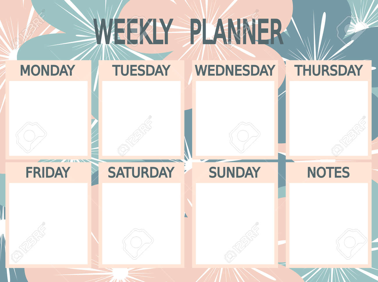 graphic regarding Cute Weekly Planners called lovable blue printable weekly planner vector crimson with bouquets