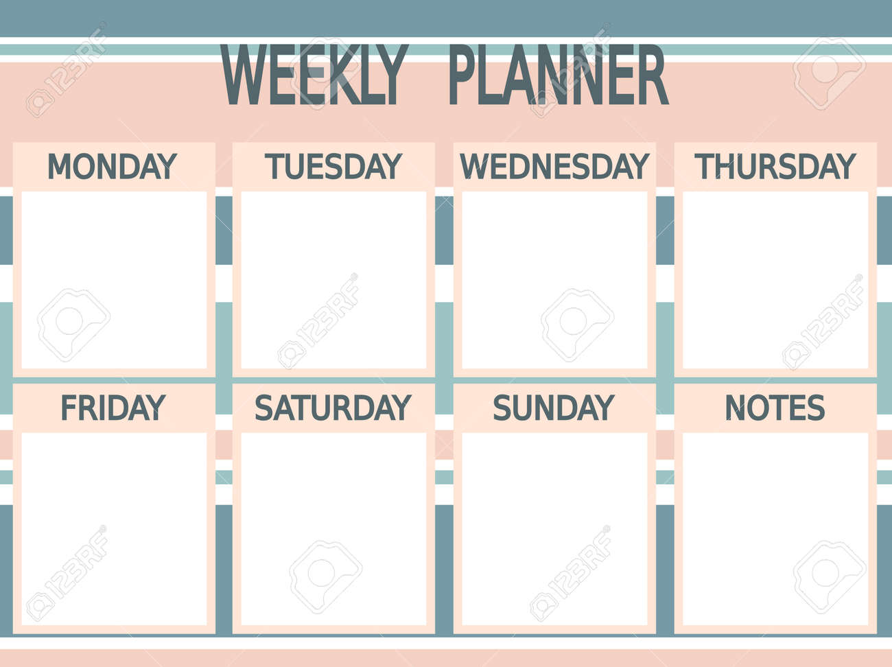 image relating to Printable Planner identify lovable blue printable weekly planner vector red with stripes