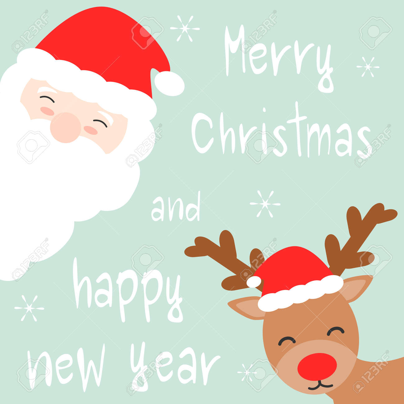 cute cartoon hand drawn merry christmas and happy new year vector card with santa claus and