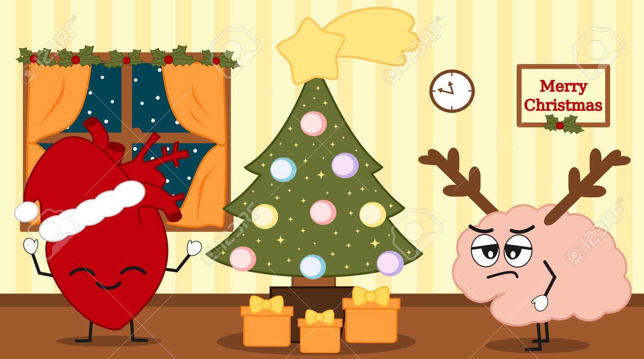 Cute Cartoon Human Heart And Brain On Christmas Eve Funny Holidays ...