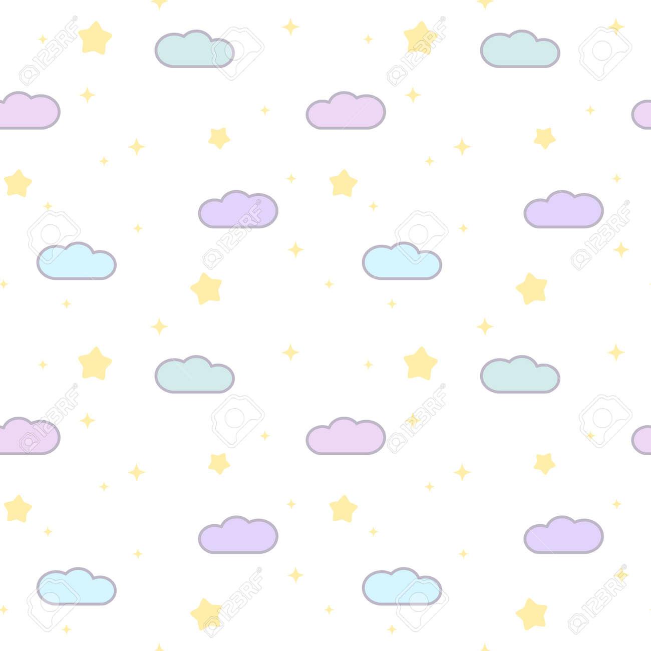 Ilustración De Dibujos Animados Lindo Nubes Y Estrellas Vector De ...