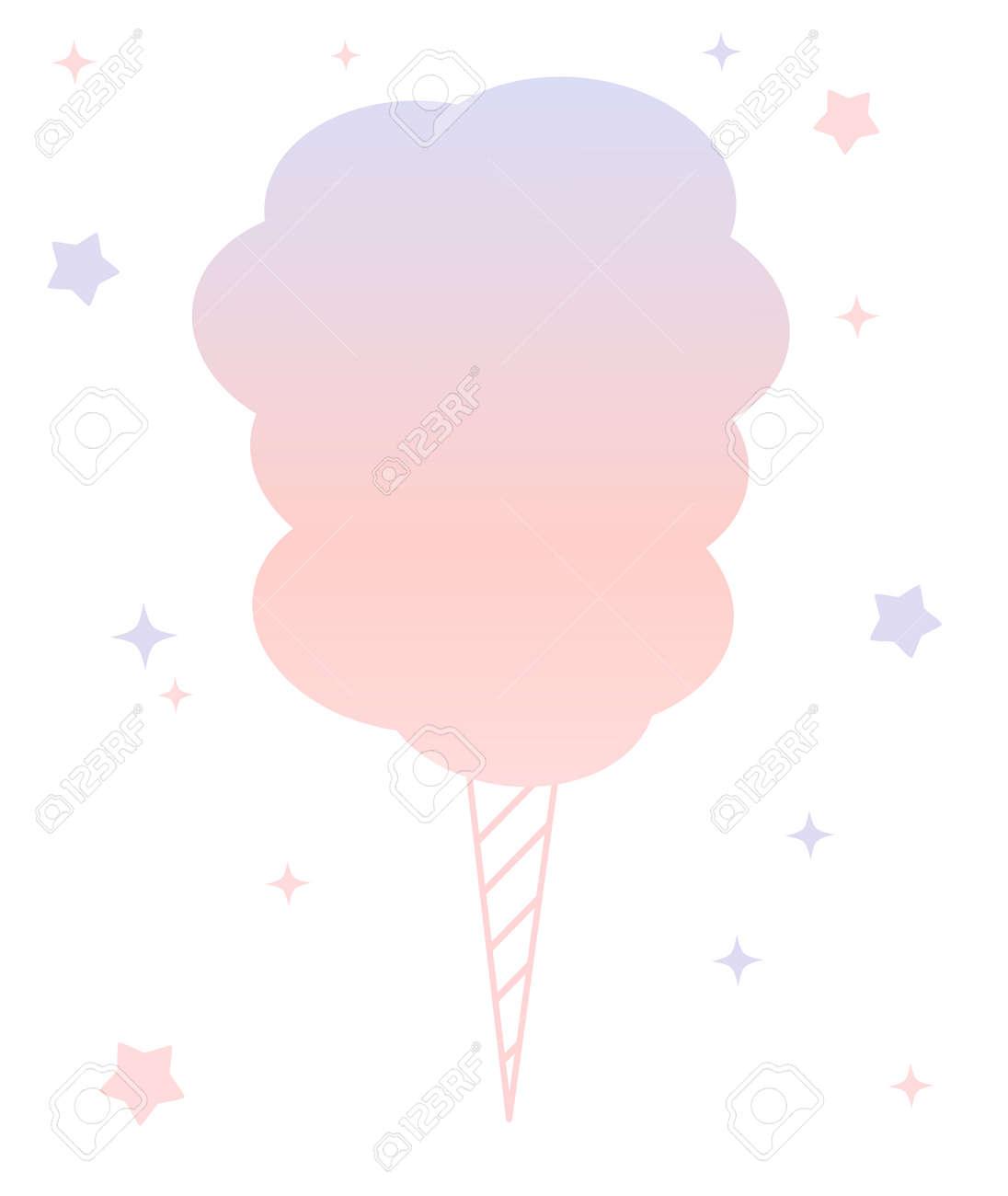 Dessin Animé Mignon Rose Et Violet Barbe à Papa Isolé Illustration