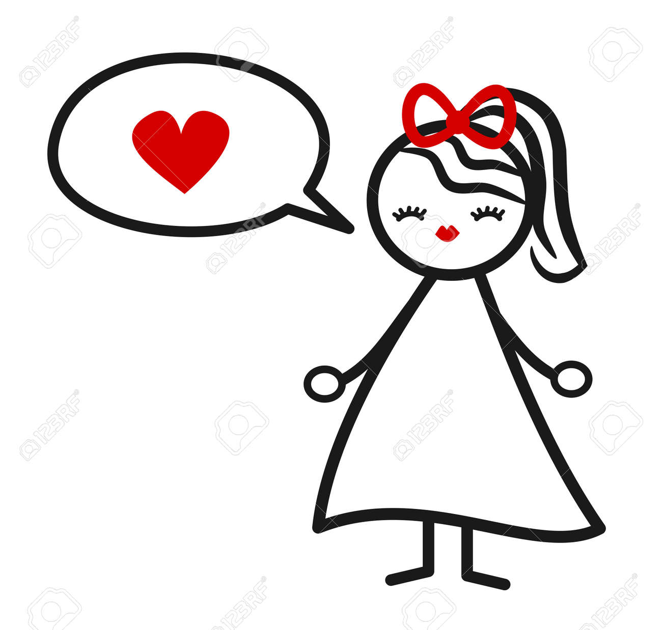 Cute Lovely Black White Red Stick Figure Girl With Heart And