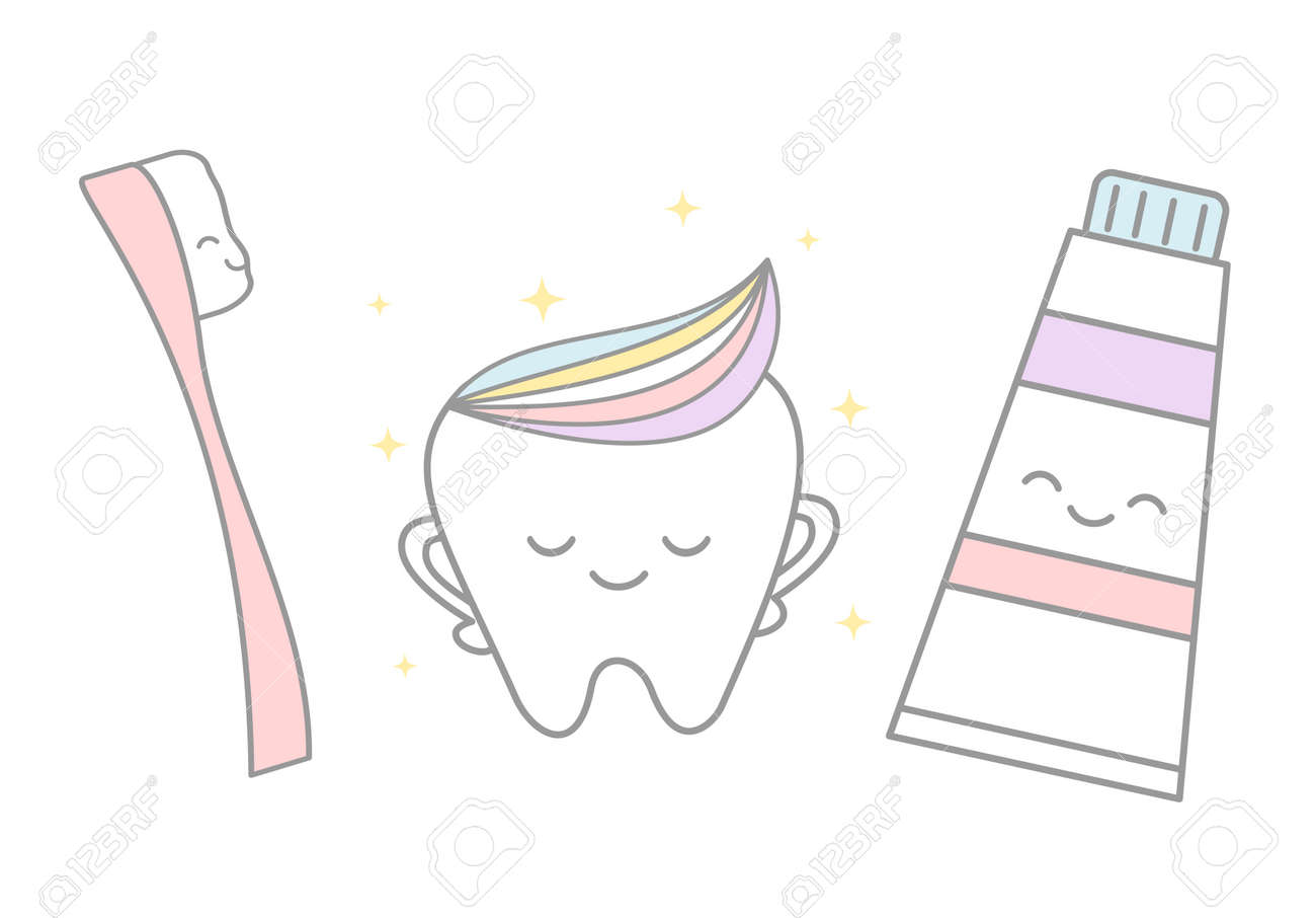 Cute Cartoon Tooth With Rainbow And Pink Tooth Brush Toothpaste Royalty Free Cliparts Vectors And Stock Illustration Image 72246357