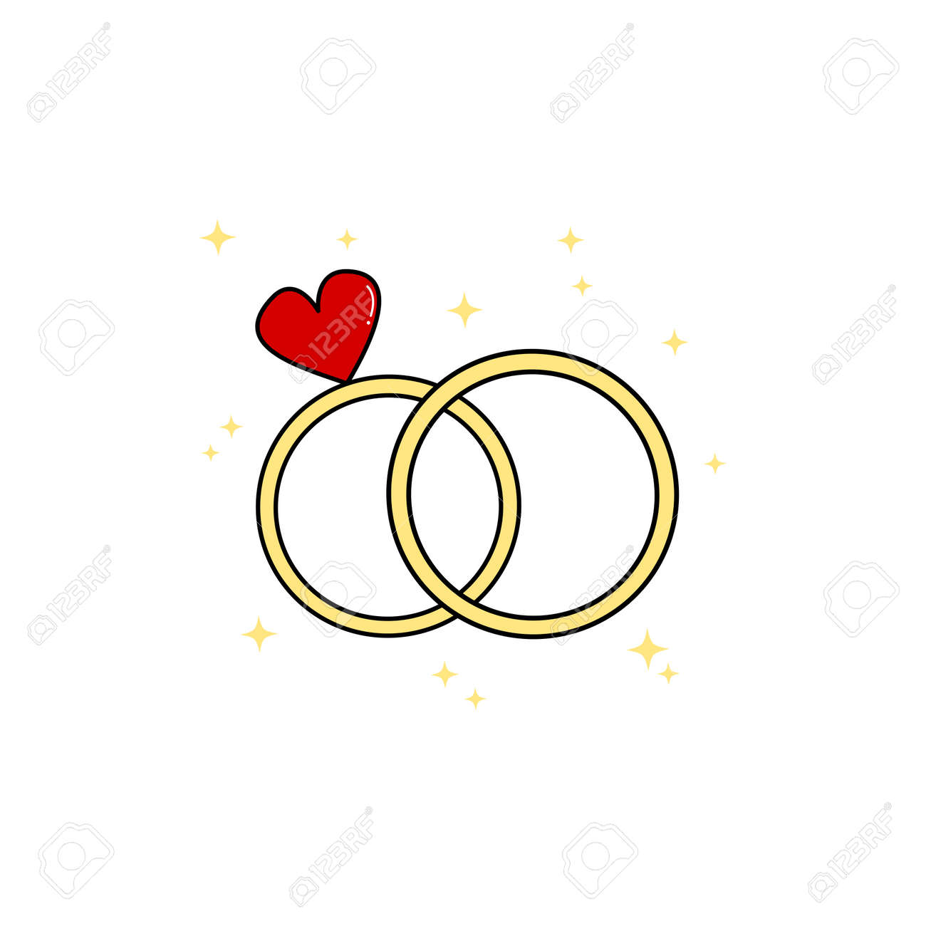 Cute Cartoon Wedding Day Rings Vector Illustration Royalty Free