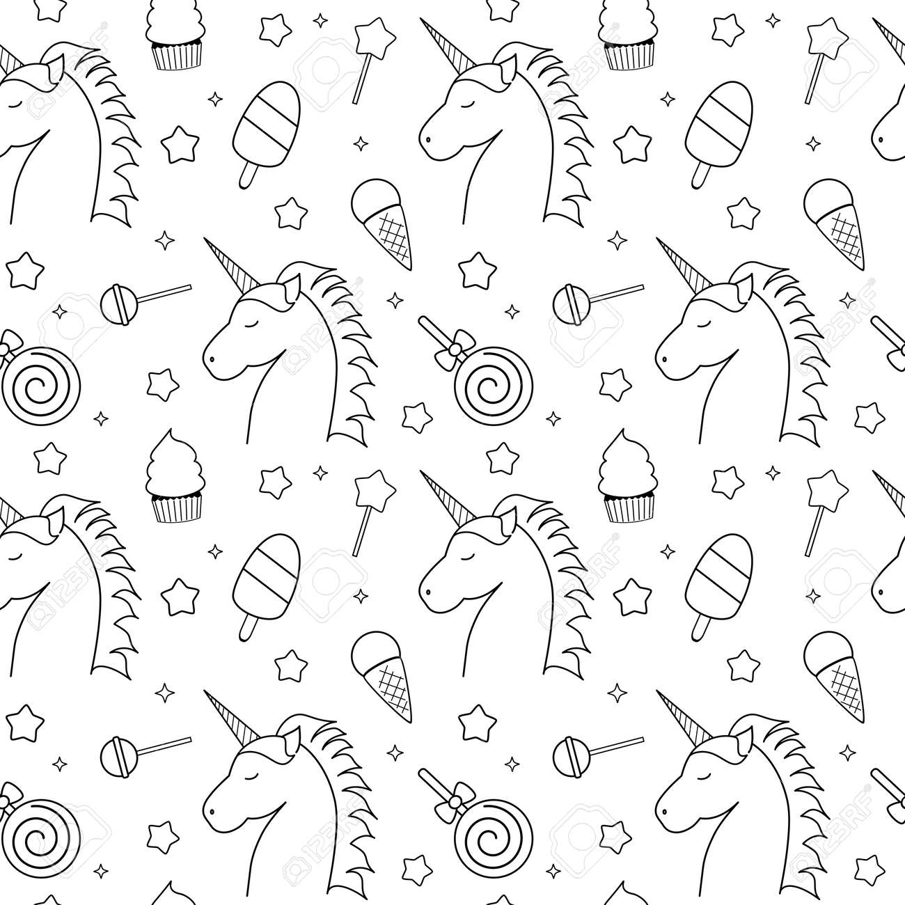 Cute Black And White Seamless Vector Pattern Illustration With