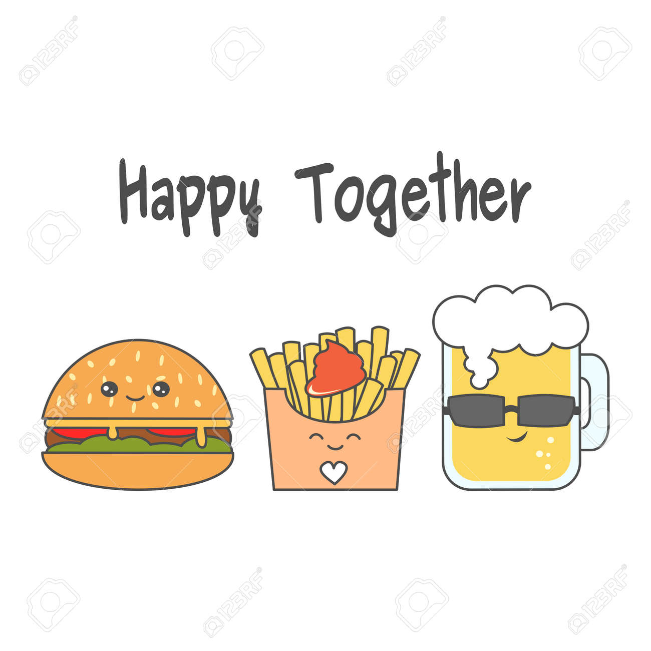 かわいい漫画のチーズバーガー フライド ポテト ビールのグラスのベクトル イラストのイラスト素材 ベクタ Image