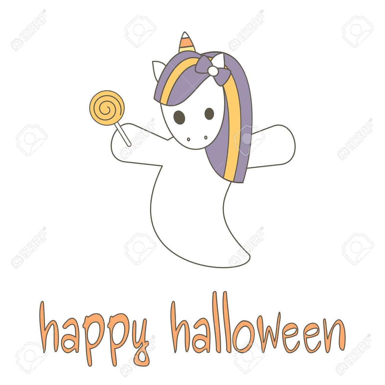 Cute Hand Drawn Happy Halloween Lettering Vector Card With Unicorn