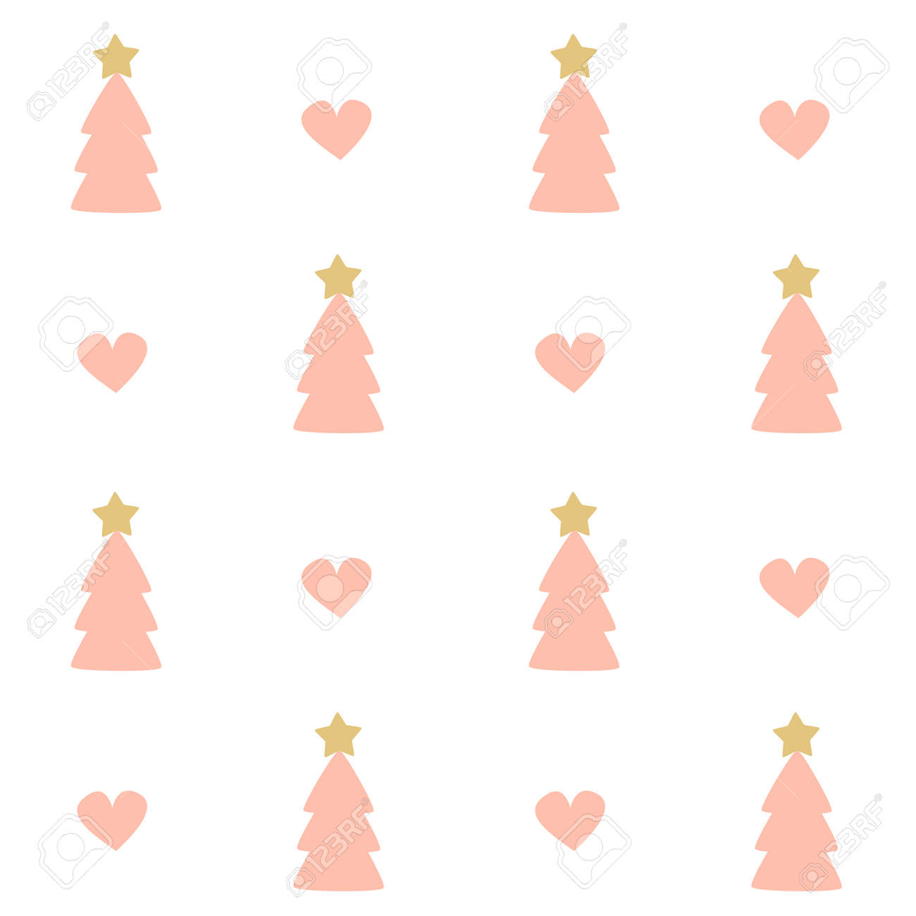 Pink Christmas Trees.Cute Seamless Pattern Background Of Pink Christmas Trees And