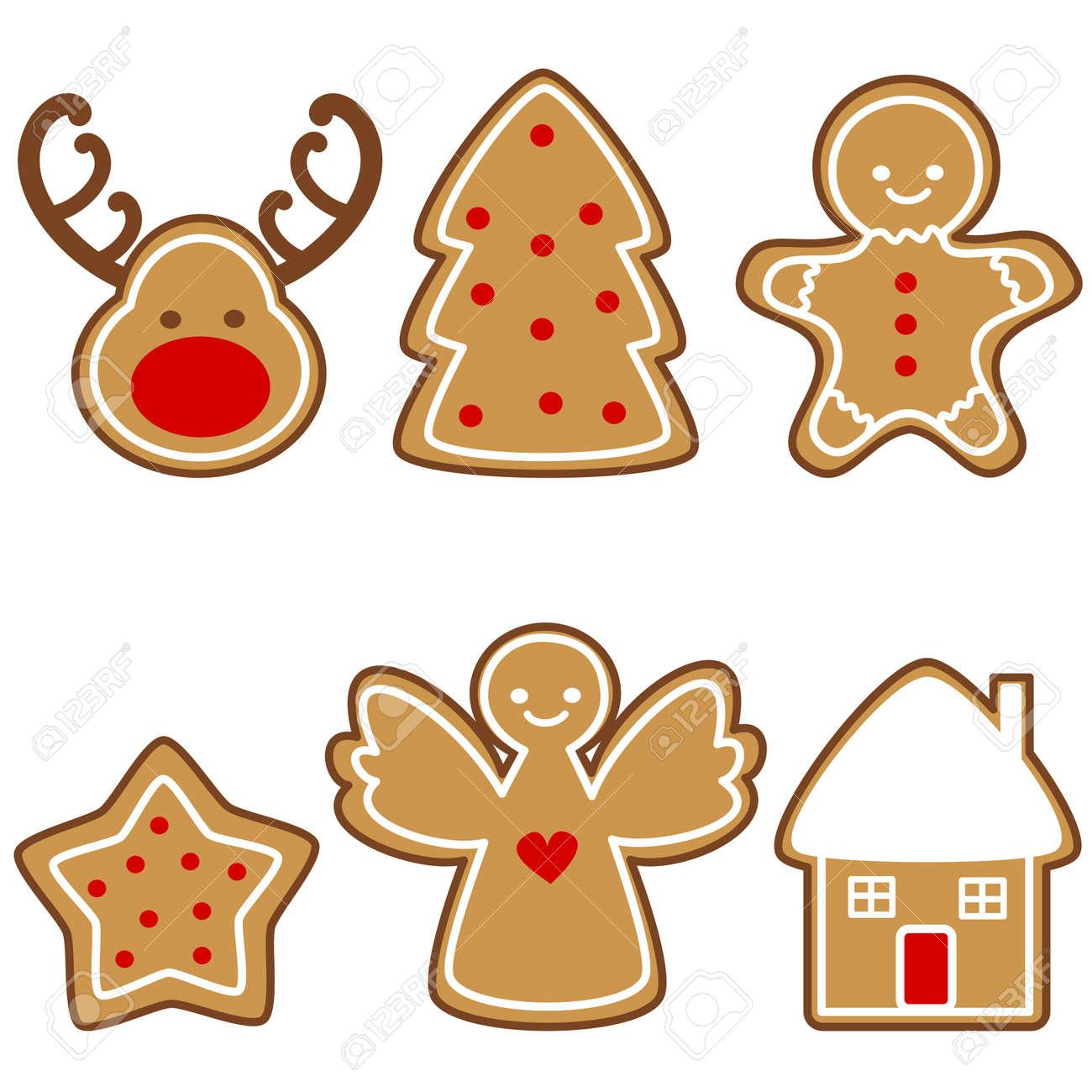 Set of cute cartoon christmas gingerbread cookies